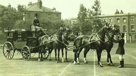an elegant 4-up of Hackney Horses to a Park Drag